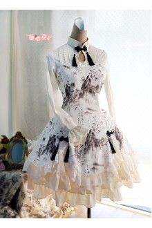 Strawberry Witch Chinese Dragon and Landscape Printed Sweet Lolita OP Dress