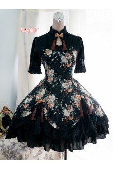 Strawberry Witch Peony Chinese Style Printed Lolita OP Dress