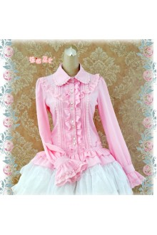 Strawberry Witch Sweet Ruffles Silk and Linen Lolita Blouse 5 Colors
