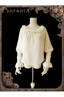 Infanta Mechanical Dolls Steampunk Striped Chiffon Lolita Blouse