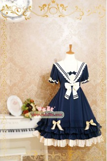 Strawberry Witch Rhine's Sails Summer Naval Academy Style Chiffon Sweet Lolita Dress 4 Colors