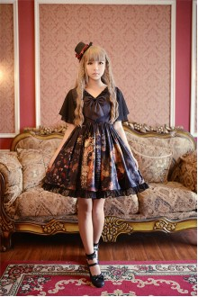 Neverland Flowers Girl Printing Splicing Chiffon Mini Classic Lolita OP Dress 2 Versions