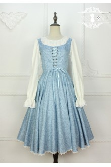 Miss Point Vintage Literature Embroidery Fake Two Pieces Classic Lolita Dress