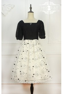 Miss Point Wishing Well Vintage Lace Embroidery Black & White Elegant Classic Lolita Dress