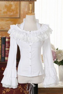 Lace Doll Collar Trumpet Sleeves Slim Lolita Blouse