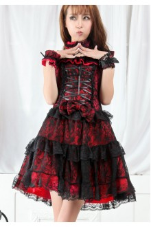 GLP Chiffon Flouncing Lace Punk Lolita Dress