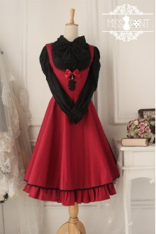 Wine Red Cotton Sleeveless Breast Care Classic Lolita Jumper Dress