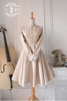 Champagne Downton Abbey Lace Long Classic Lolita Dress