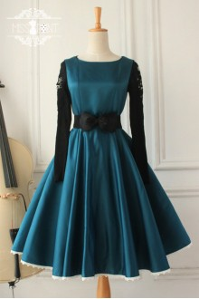 Dark Blue Vintage Hepburn Impression Elegant Classic Lolita Dress
