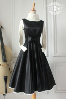 Black Vintage Hepburn Impression Elegant Classic Lolita Dress