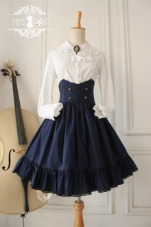 Dark Blue Vintage College Style High Waist Fishbone Gothic Lolita SK