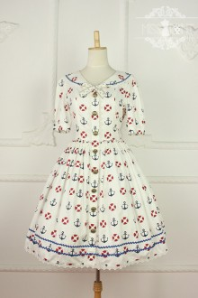 Sweet College Style Puff Sleeves Sailor Lolita Dress