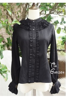 Black Double-deck Round Collar Long Sleeves Chiffon Lace Lolita Blouse