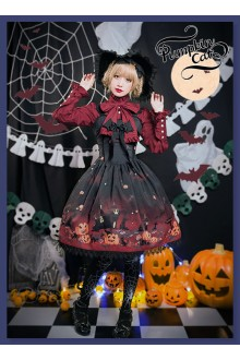 Pumpkin Cat Halloween Carnival Lolita Jumper Dress and KC Set