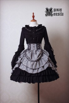 Mousita White and Black Vintage Gothic Lolita SK