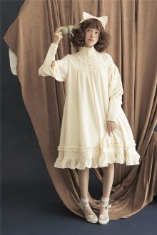 Chiffon Stand Collar Long Sleeves Classic Lolita Doll OP Dress 6 Colors