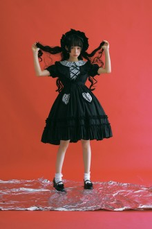 Black and Wite Peach Short Sleeves Classic Lolita OP Dress