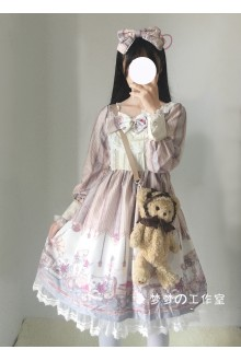 Beige Lace Bowknot Printing Sweet Lolita OP Dress
