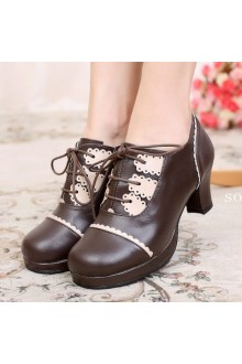 Sweet Girl Ties Lace Color-Blocking Lolita Shoes 6 Colors