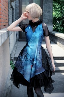 Neo Ludwig Blue Vintage Chinese Style Fake Two Pieces Short Sleeves Slim Classic Lolita Dress