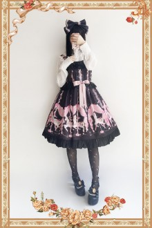 Black Infanta Flower Merry-go-round Sweet Lolita JSK Dress