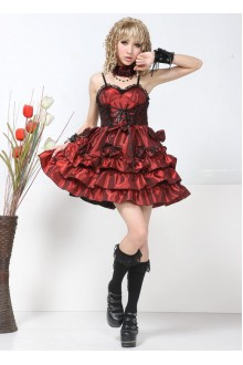Red GLP Bow Knot Aristocratic Sleeveless Chiffon Punk Lolita Dress