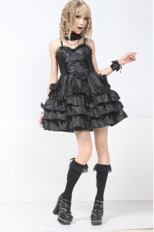 Black GLP Bow Knot Aristocratic Sleeveless Chiffon Punk Lolita Dress