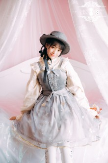 Miss Point Gray Vintage Edelweiss Embroidered Sweet Lolita JSK Dress