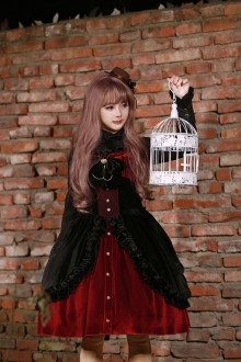 Red Dark Night Prayer Bow Knot Sweet Lolita Dress