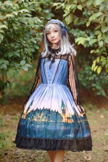 Purple Blue Neverland Clock Tower Dusk Sweet Lolita JSK