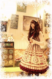 Red MILU Snowflake Printing Sweet Lolita JSK Dress (Included Headdress, Bow Knot and Belt)