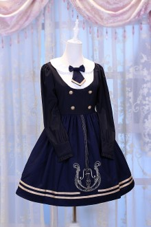 Dark Blue Chess Story Magic Music Institute Violin Embroidery College Style Sweet Lolita OP Dress