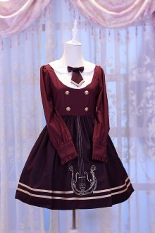 Wine Chess Story Magic Music Institute Violin Embroidery College Style Sweet Lolita OP Dress