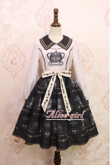 White and Black Owl Printing Bow Knot Long Sleeves Sweet Lolita OP Dress Version 1