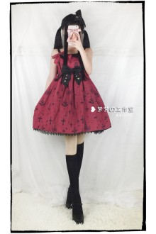 Wine Holy Lantern Cross Sweet Lolita JSK Dress