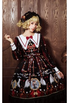 Black Wine Mousita Abbey Angel Long Sleeves Sweet Lolita OP Dress