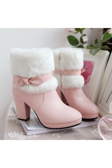 Sweet Bow Knot Waterproof High-heeled Suede Snow Boots 3 Colors