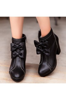 Sweet Bow Knot Waterproof High-heeled PU Snow Boots 4 Colors