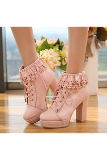 Sweet Tie Princess High-heeled Snow Lolita Boots 2 Colors