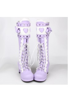 Purple Sweet Bow Knot Princess High Lolita Boots