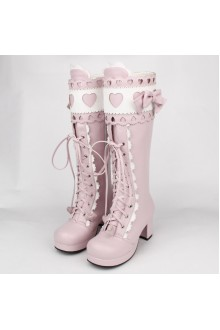Pink Sweet Bow Knot Princess High Lolita Boots