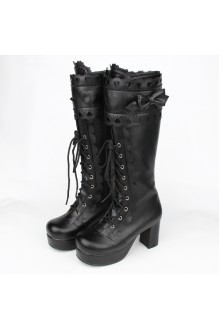 All Black Sweet Bow Knot Princess High Lolita Boots