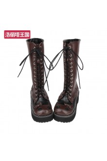 Brown Cat Head Sweet High Lolita Boots