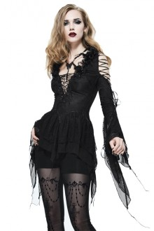 Black Strapless Shoulder Slim Long Sleeves Lolita Shirt
