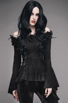 Black Off Shoulder Trumpet Sleeve Punk Gothic Lolita Shirt