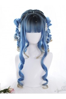 Blue Ancient Rome Series Rome Curly Hair-tail Gradient Lolita Wigs