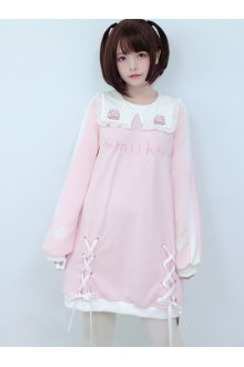 Small Square Collar Milk Sleeve Dress Printing Sweet Lolita Long Sleeve Dress 2 Colors