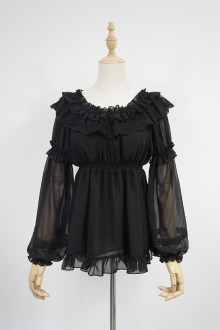 The Dream Of Lolita Black Lotus Leaf Edge Chiffon Lolita Blouse