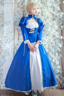 White and Blue Saber Series Lolita Blue Cosplay Prom Dress