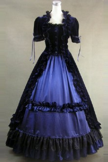 Black & Blue Victorian Ruffles Gothic Lolita Prom Dress